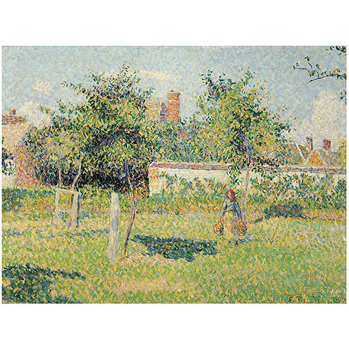 """Trademark Fine Art """"Woman in the Meadow at Eragny 1887"""" Canvas Art by Camille Pissarro"""