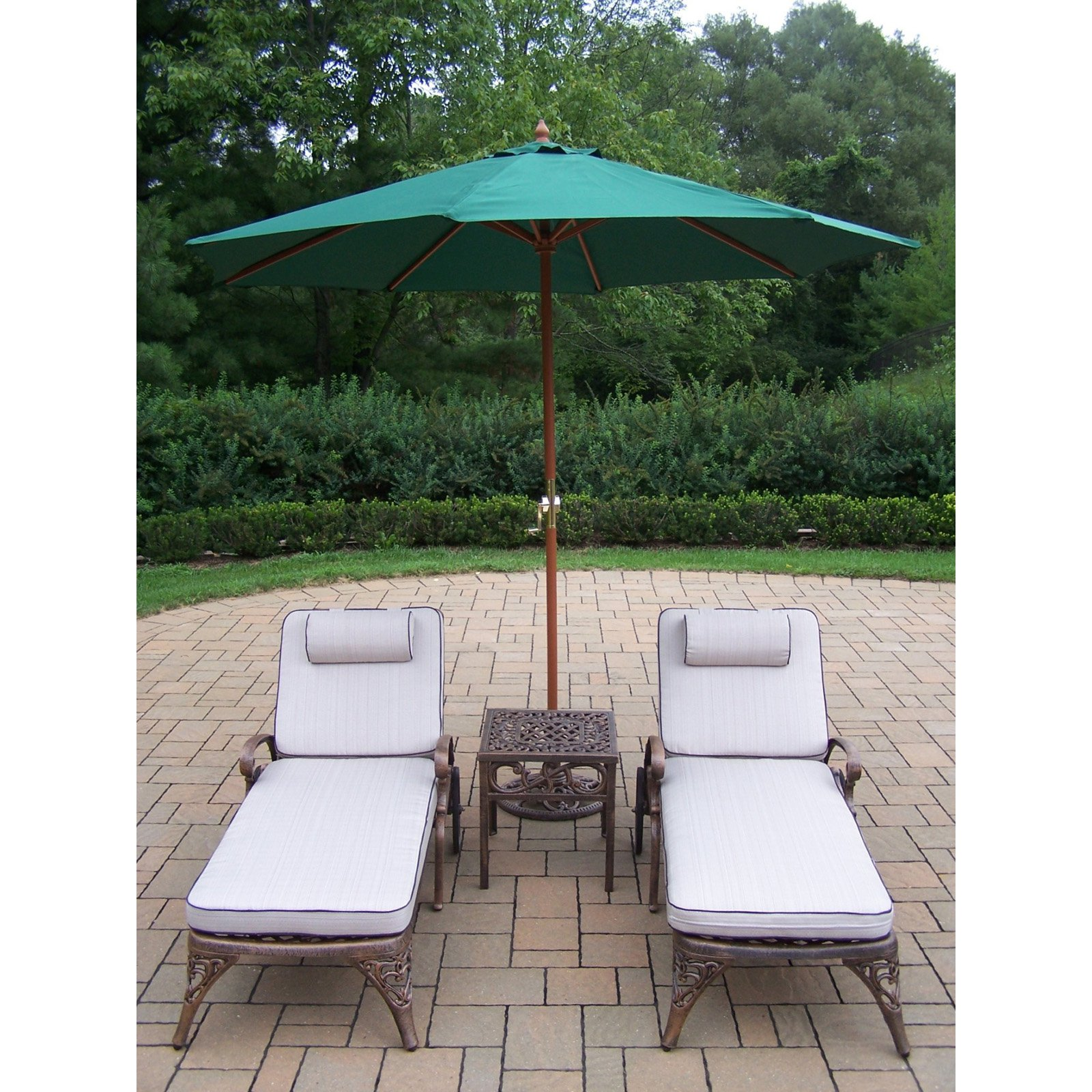 Oakland Living Mississippi Cast Aluminum Chaise Lounge Set with Umbrella and Stand
