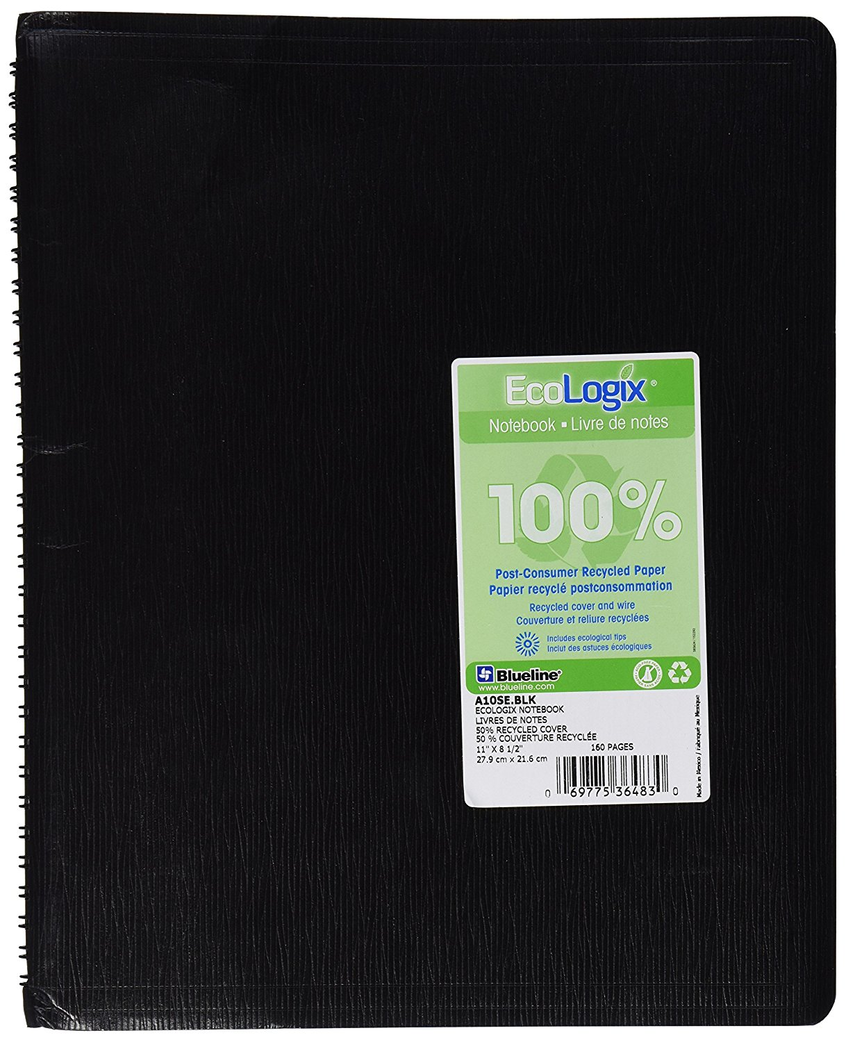 """BLUELINE EcoLogix 100% Recycled Notebook, Black, 11 x 8.5"""" 160 Pages (A10SE.BLK), 100% post-consumer... by"""