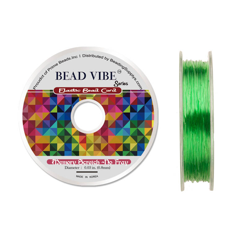 Elastic Bead Cord, Beadvibe Series Memory Stretch Non Fray, Green 0.8mm Diameter 82ft