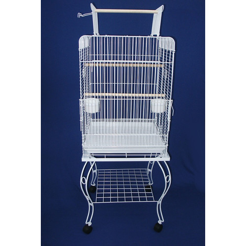 YML 0224WHT 24-Inch Open top Parrot Cage with Stand, White