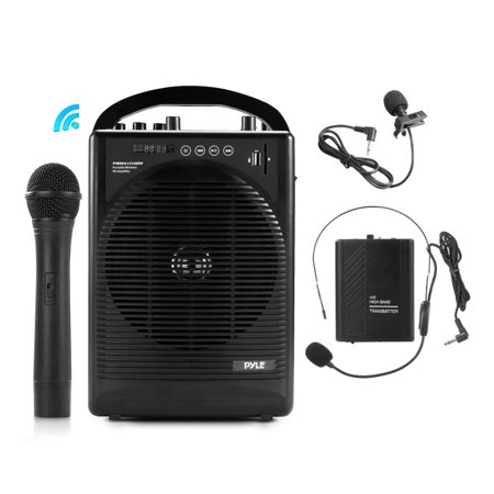 PYLE PWMA1216BM - Portable PA Speaker Amplifier & Microphone System, Bluetooth Wireless Streaming, Built-in Rechargeable Battery, Accessory Kit (Includes Handheld Mic, Headset Mic, Lavalier Mic, Belt ()