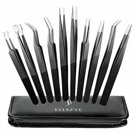 Grooming Kit Tweezer - Precision Tweezers Set, ElleSye 10 PCS ESD Tweezer Set, Anti-Static Stainless Steel Tweezers Kit Curved Tweezers for Craft, Jewelry, Electronics, Laboratory Work