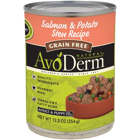 AvoDerm Natural Grain Free Stew Salmon Meal and Potato Formula for Dogs, 12.5-Ounce (Naturals Salmon Formula)