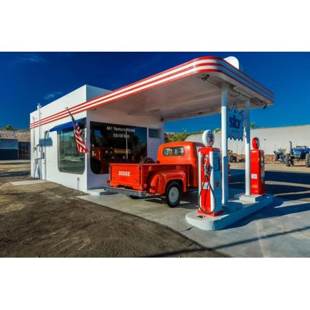 Red Dodge Pickup truck parked in front of vintage gas station in Santa Paula, California Print Wall Art