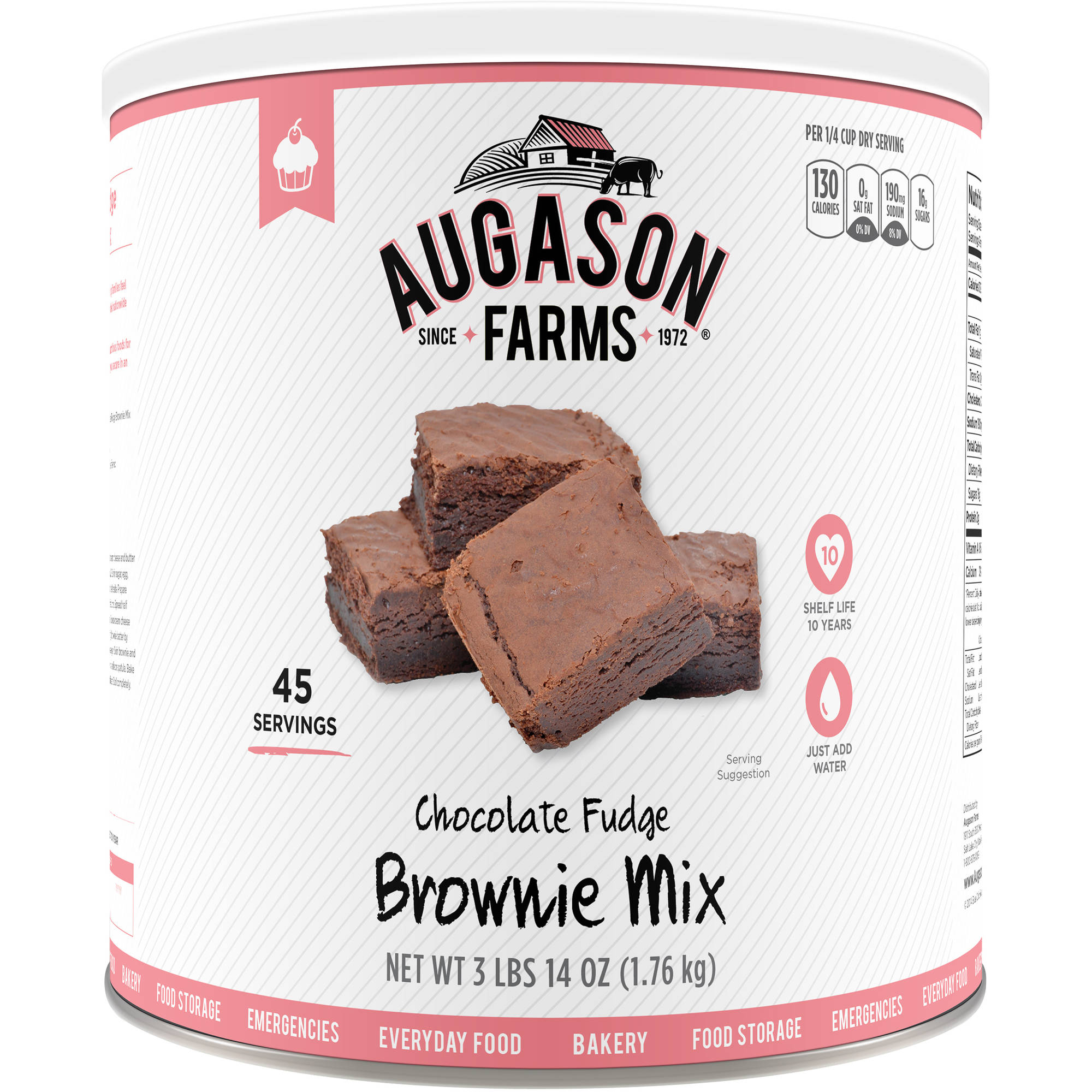 Augason Farms Emergency Food Chocolate Fudge Brownie Mix, 62 oz