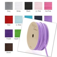 "1/8"" Width Skinny Elastic Band - Braided Cord - Light Pink 200 Yards - USA Warehouse"