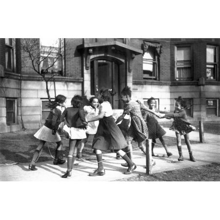 Chicago Illinois 1941 Nplaying Ring Around A Rosie In The Black Belt Neighborhood Of Chicago Photograph April 1941 By Edwin Rosskam Rolled Canvas Art -  (24 x (Best Neighborhood Schools In Chicago)
