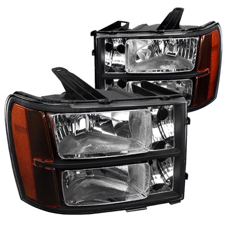 Gmc S15 Pickup Truck Headlight - Spec-D Tuning For 2007-2013 Gmc Sierra Pickup Black Headlights Amber 2007 2008 2009 2010 2011 2012 2013 (Left+Right)