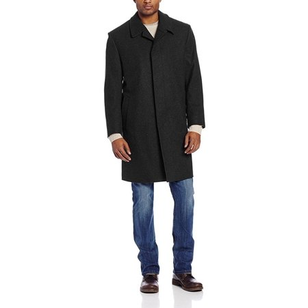 Men's Single Breasted Three Quater Length 100% Wool Topcoat - Shaddow - Charcoal - (Sslr Mens British Single Breasted Slim Wool Coat)