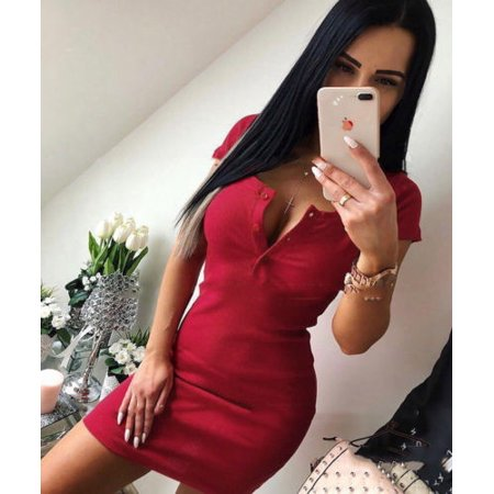 (Womens Bandage Bodycon Short Sleeve Evening Party Cocktail Club Short Mini Dress)