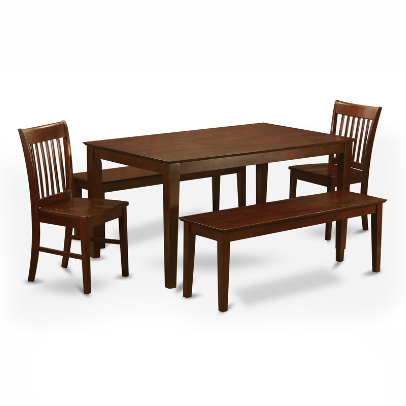 East West Furniture Capris 5 Piece Rectangular Dining Table Set with Norfolk Wooden Chairs And Benches