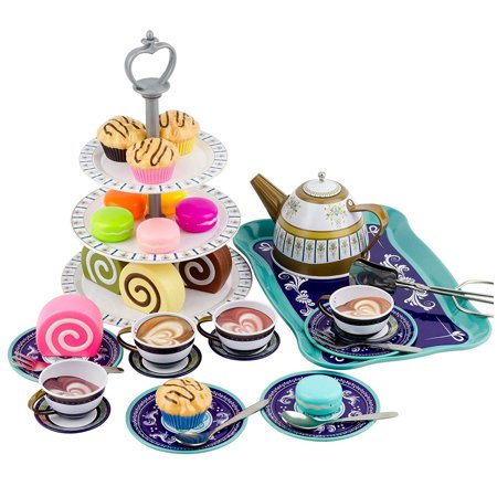 Kitchen Connection Deluxe Afternoon Tin Tea Set - Multicolor Heart Tin Tea Set