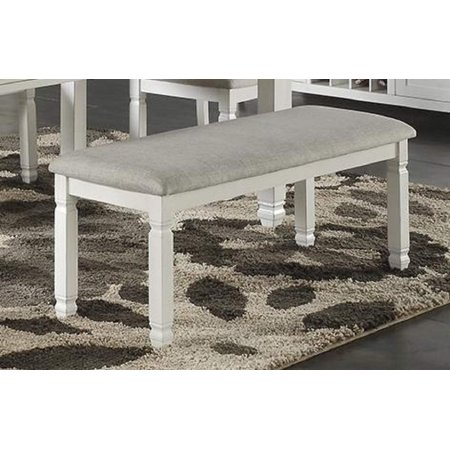 Modern Dining Bench with Upholstered Seat Cushion, White Rubberwood