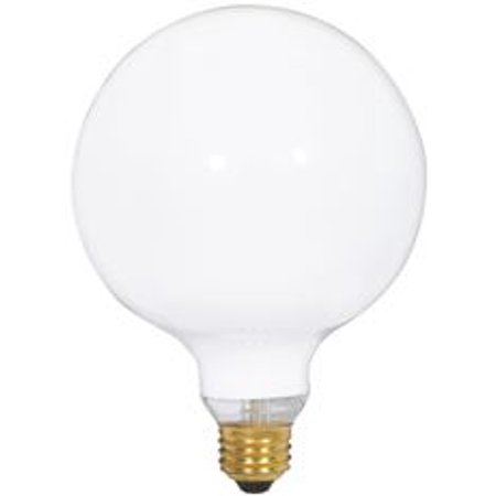 Satco Incandescent Decorative Lamp G40, 40 Watt, 120 Volt, Medium Base, Gloss White, 4,000 Average Rated Hours, 6 Per