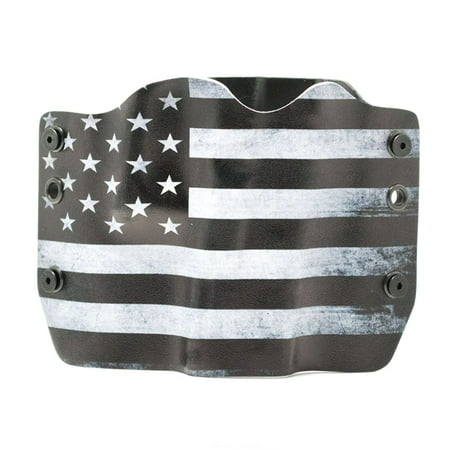 Outlaw Holsters: Black & White USA Flag OWB Kydex Gun Holster for Ruger LCR .38 Special, Right
