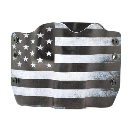 Outlaw Holsters: Black & White USA Flag OWB Kydex Gun Holster for Walther PPS, Right