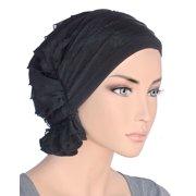 Turban Plus The Abbey Cap ® Womens Chemo Hat Beanie Scarf Turban for Cancer Ruffle Black