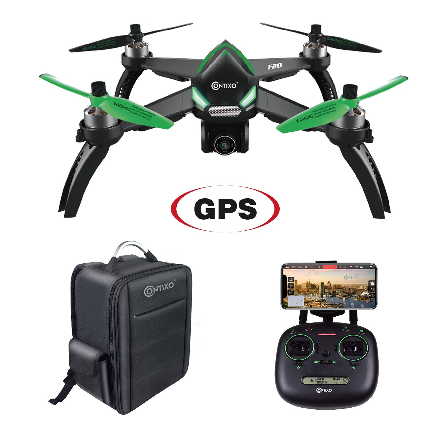 Contixo F20 RC Remote App Controlled Quadcopter Drone | 1080p HD WiFi Camera, Follow Me, Auto Hover, Altitude Hold, GPS, 1-Key Takeoff & Landing, Auto Return +Free Custom Backpack ($50 Value)