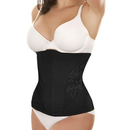 Women's Floral Pattern Stretchy Shapewear Slimming Girdle Belt Waist Cincher Black (Size M / - Stretchy Wrist Bands