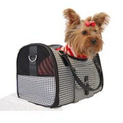 Black White Houondstooth Carrier Mesh Window For Pet Dog Cat - Medium (Gift for Pet)