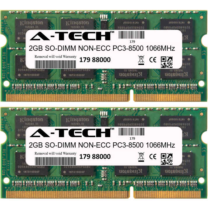 4GB Kit 2x 2GB Modules PC3-8500 1066MHz NON-ECC DDR3 SO-DIMM Laptop 204-pin Memory Ram