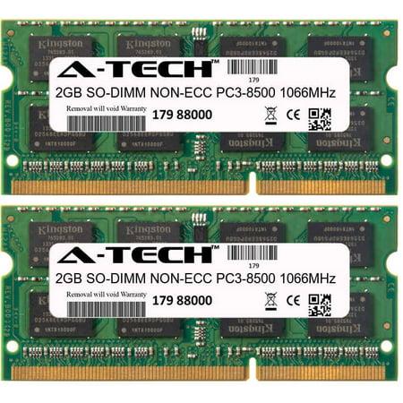 4GB Kit 2x 2GB Modules PC3-8500 1066MHz NON-ECC DDR3 SO-DIMM Laptop 204-pin Memory