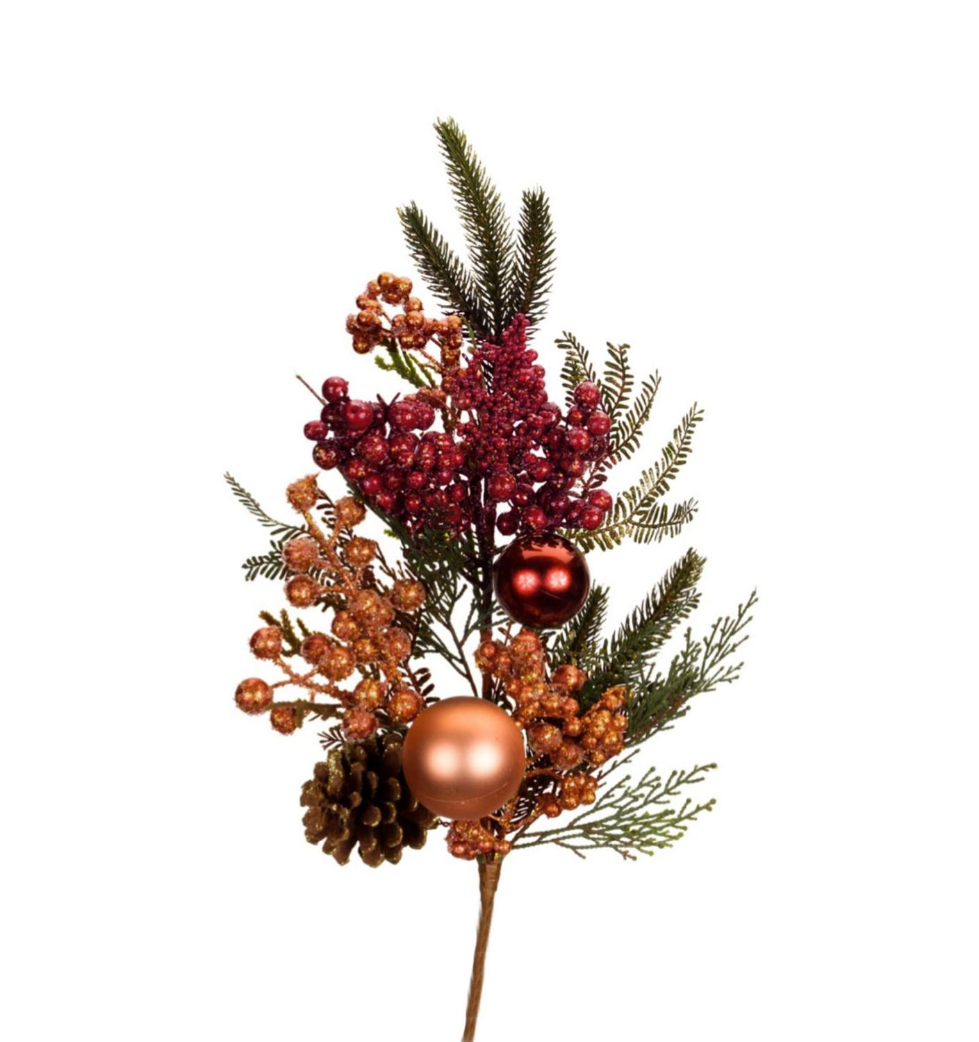 """30"""" Vibrantly Colored Berry, Pine Cone and Ball Ornament Artificial Christmas Spray"""