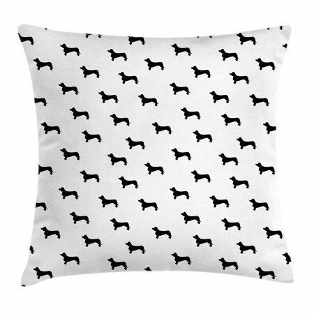 Dog Lover Throw Pillow Cushion Cover, Monochrome Dachshund Silhouettes Breed Dog Domestic Canine Pattern Active Pet, Decorative Square Accent Pillow Case, 20 X 20 Inches, Black White, by Ambesonne