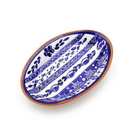 Blue Medium Oval Platter (Hand-painted Vintage Traditional Portuguese Terracotta Oval Platter )