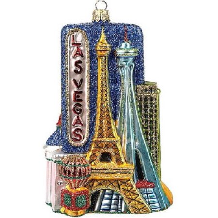 Las Vegas Nevada Travel Polish Glass Christmas Ornament Decoration Gambling - Las Vegas Decorations