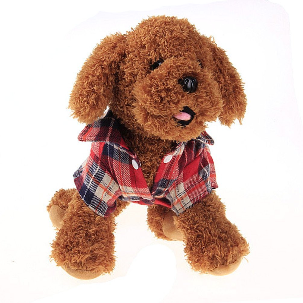 Hot Sale NEW Fashionable Plaid Pet Shirt Summer Dog Shirt Casual Dog Tops Dog Clothes Puppy Outfits Pet Clothing For Small Dogs(red)