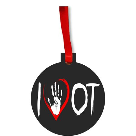 I Love OT - Handprint - Gift Appreciation Round Shaped Flat Hardboard Christmas Ornament Tree Decoration - Unique Modern Novelty Tree Décor Favors