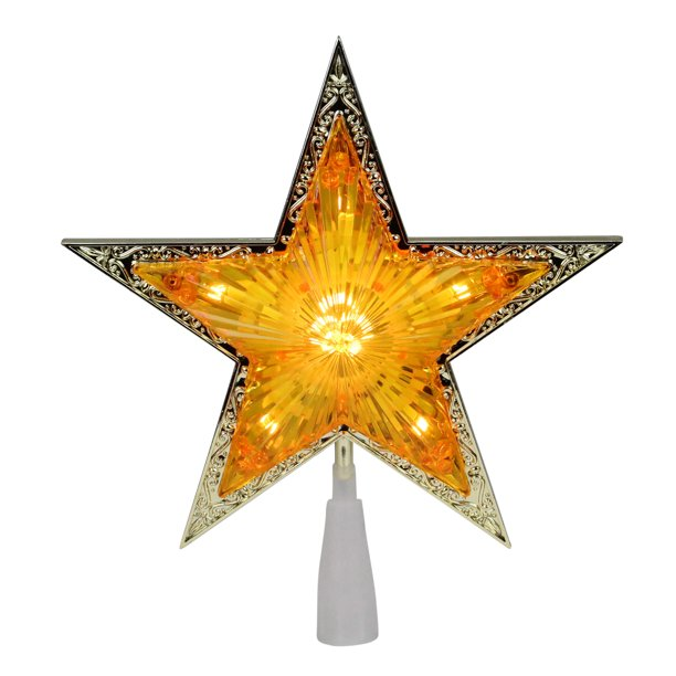 """9"""" Pre-Lit Gold and Amber Crystal 5 Point Star Christmas ..."""