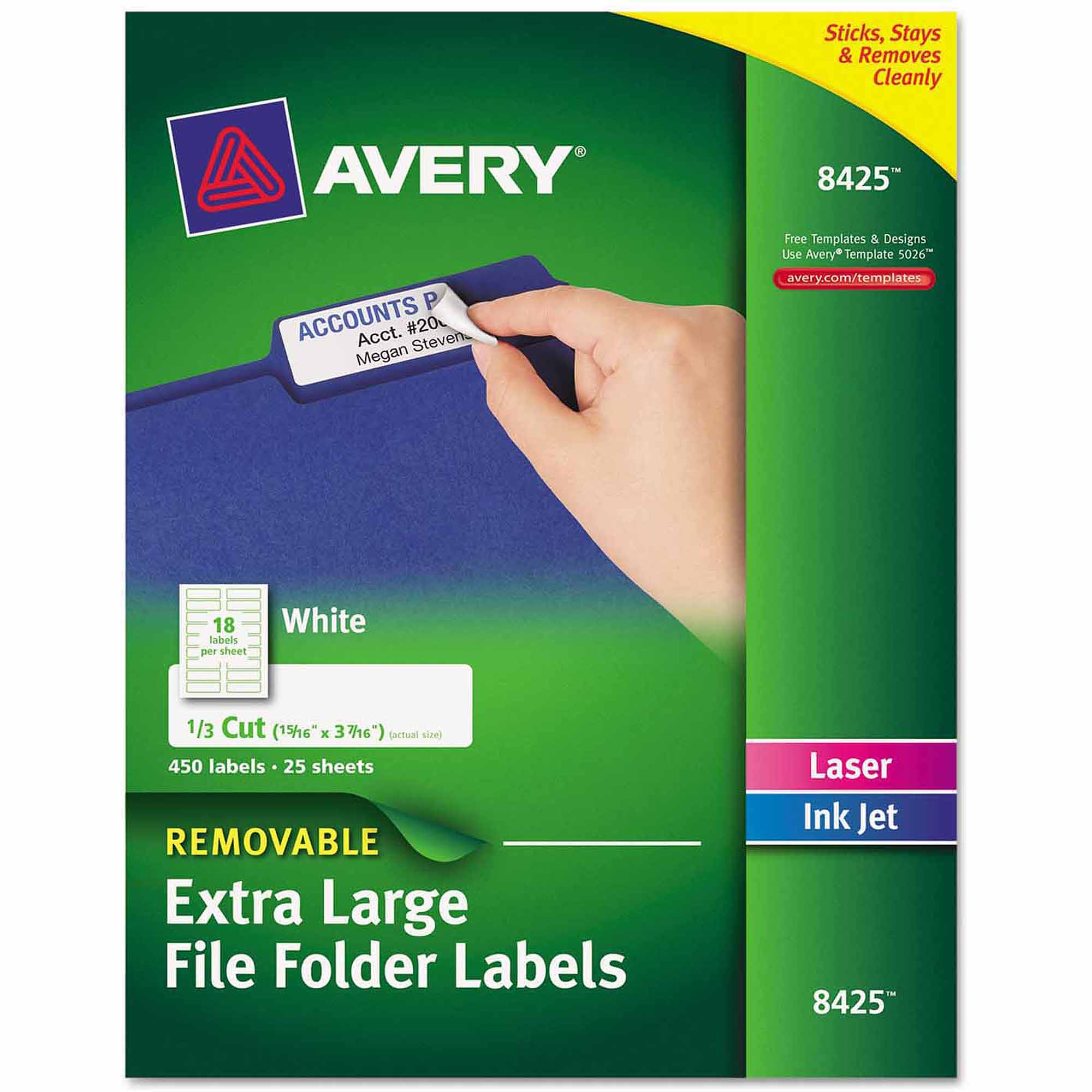 "Avery Removable Extra-Large 1/3-Cut File Folder Labels, 15/16"" x 3-7/16"", White, 450-Pack"