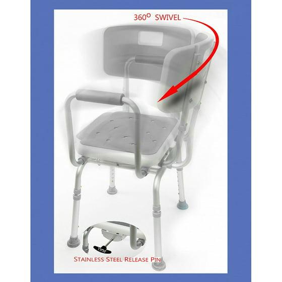 MOBB - Shower Chair SWIVEL PADDED Seat Adjustable Bath Seat ...