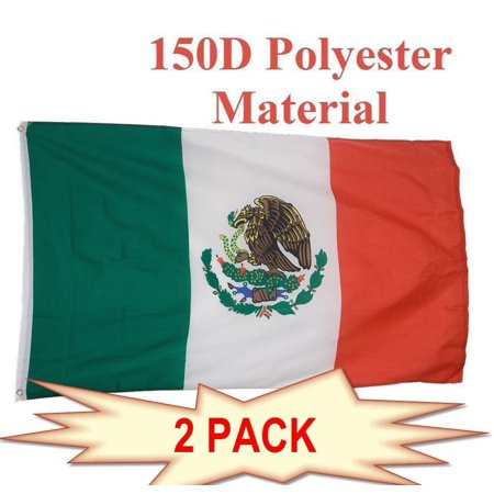 G128 - 2 PACK Mexico Mexican Flag 3x5ft Printed with Brass Grommets on 150D Polyester