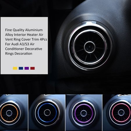 Fine Quality Aluminium Alloy Interior Heater Air Vent Ring Cover Trim 4Pcs For A3/S3 Air Conditioner Decorative Rings Decoration Collection Decorative Shower Trim Ring