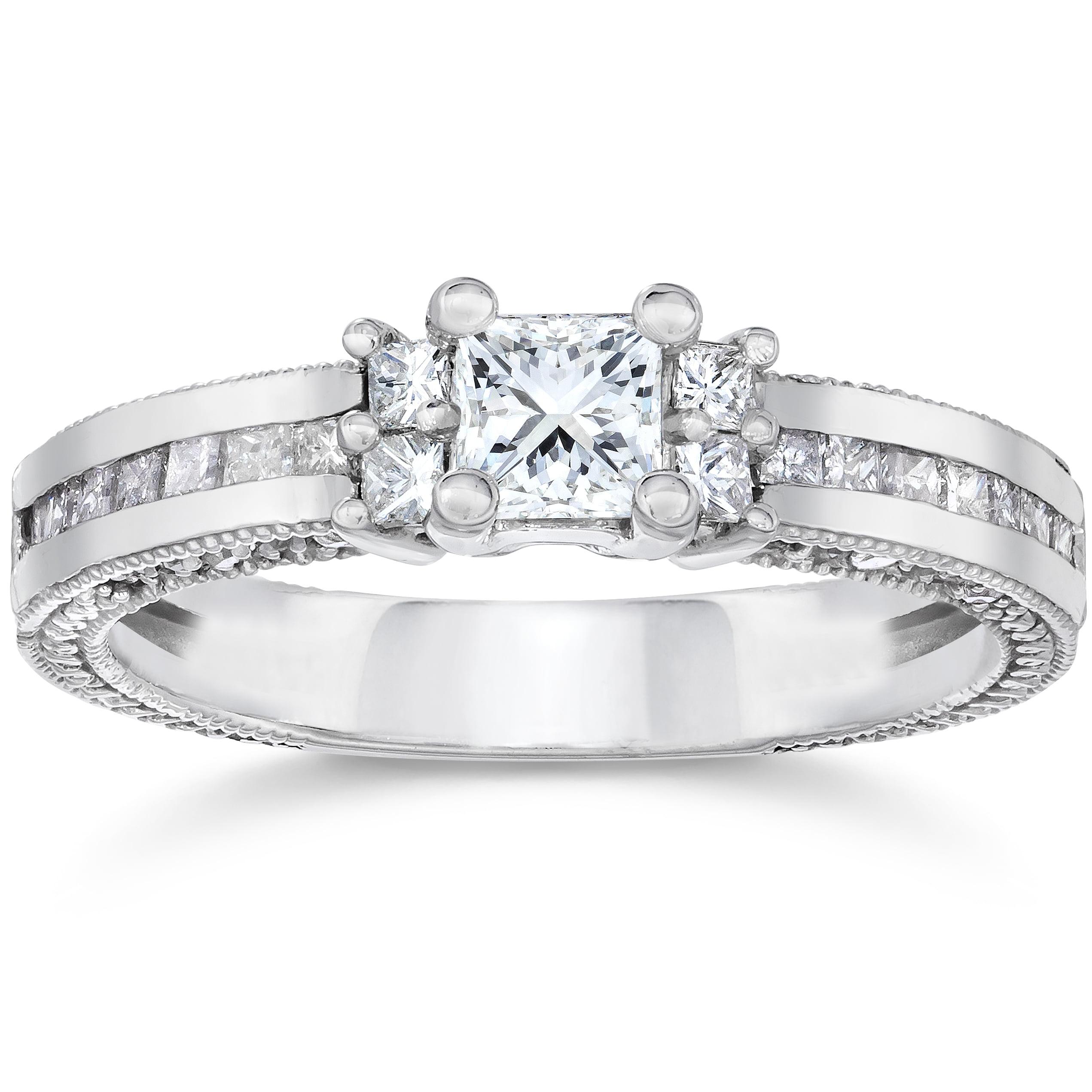 Pompeii3 1ct Vintage Heirloom Princess Cut Diamond Ring 1...