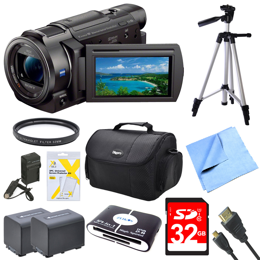 Sony FDRAX33 FDR-AX33 FDR-AX33/B AX33 4K HD Video Recording Handycam Camcorder Bundle With 2 High Capacity Spare Batteries, 32GB High Speed Card, Full Sized Tripod and More