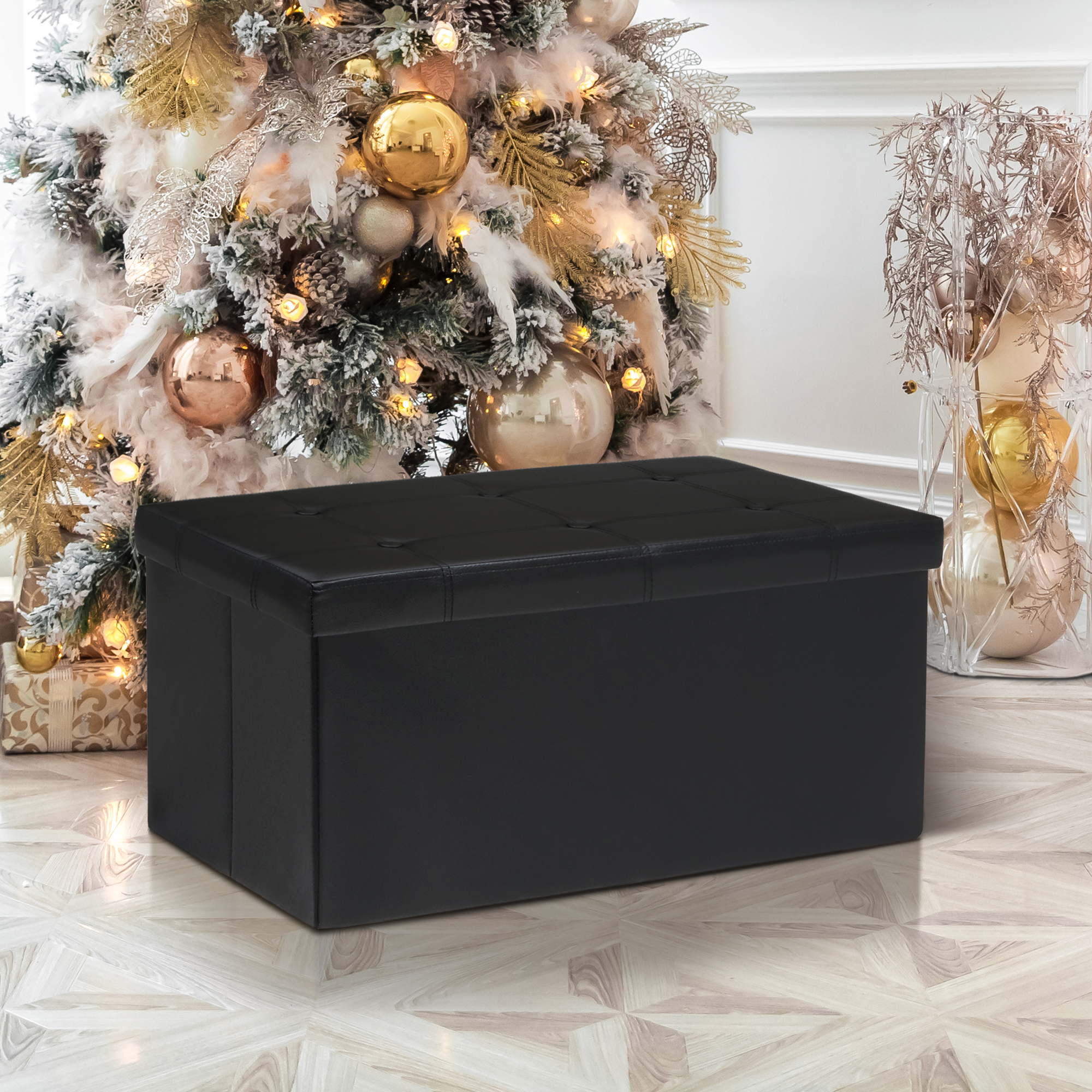 Otto & Ben 30 Inch Button Design Memory Foam Folding Storage Ottoman Bench with Faux Leather