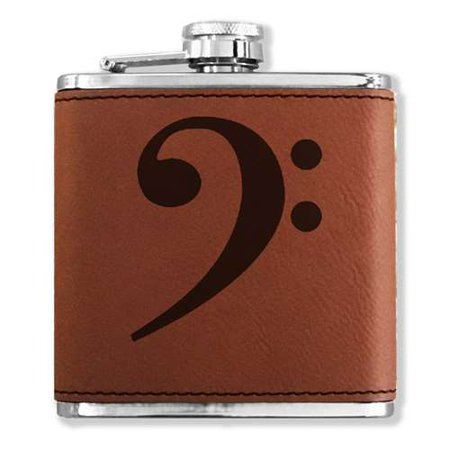 Faux Leather Flask - Bass Clef - Dark Brown