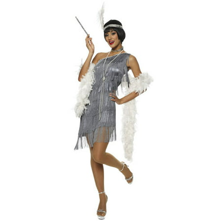 Dazzling Flapper Silver Great Gatsby 20'S Fancy Womens Halloween Costume](Great Gatsby Costum)