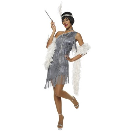 Dazzling Flapper Silver Great Gatsby 20'S Fancy Womens Halloween (Fancy Dress 20's Costumes)
