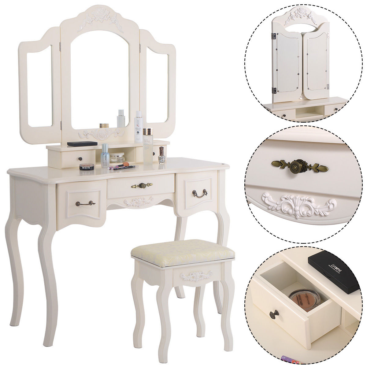 Costway Tri Folding Vintage White Vanity Makeup Dressing Table Set 5 Drawers &stool by Costway