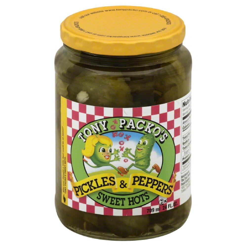 Tony Packos Sweet Hots Pickles & Peppers, 24 Oz (Pack of 6)