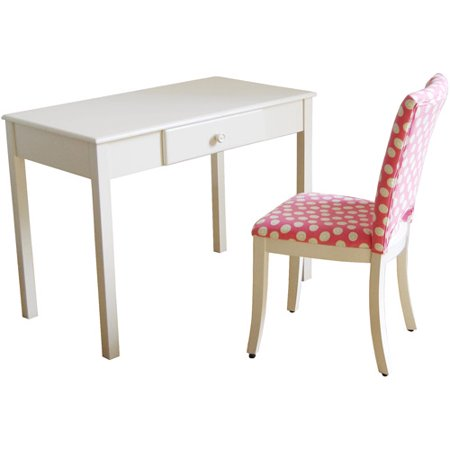 Kinfine Kids Desk And Upholstered Chair Set White Pink