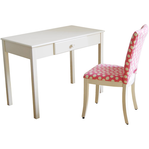 Kinfine Desk And Upholstered Chair Set, White And Pink
