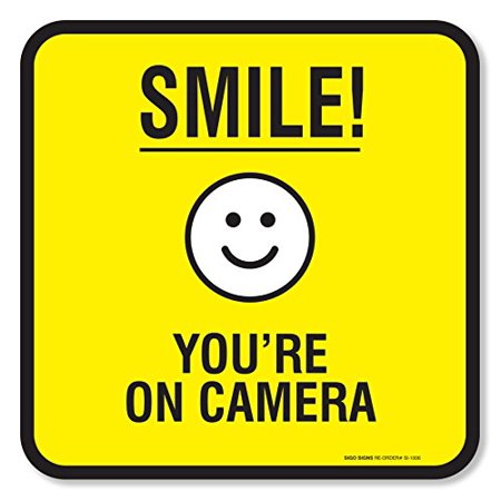 - (4 Pack) Smile You're on Camera Sign Self Adhesive