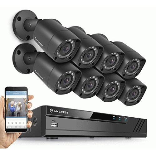 Amcrest Full-HD 1080P 8CH Video Security System w/ Eight 2.0MP (1920TVL) Outdoor IP67 Bullet Cameras, 66ft Night Vision, Hard Drive Not Included
